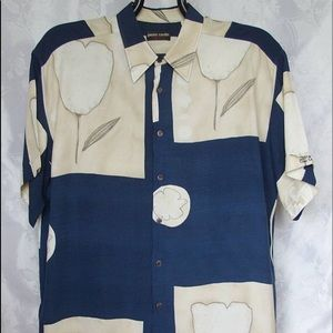 Pierre Cardin Blue Abstract Floral Mens Buttondown